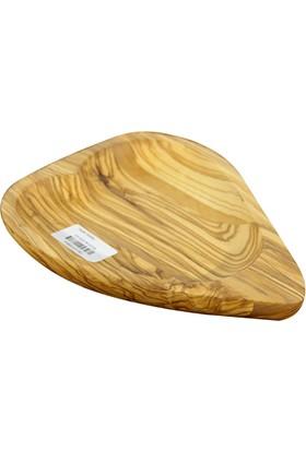 Globy Zeytin Ağacı Bambu Kalpli Servis Tepsi 25 x 17 cm