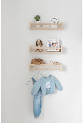 Ceebebek Ahşap Raf Üçlü Bebek Odası Askı Duvar Kitaplık 30 Cm
