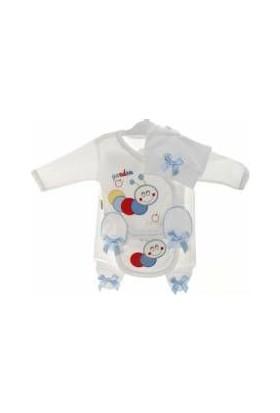 Akyüz Bebe Yumurcak 5 Li Tırtıl Erkek Bebek Hastane Çıkışı Zıbın Seti