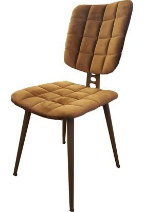 Retro Ayaklı Kare Sandalye 4 Adet Kahve