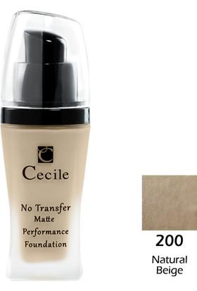 Cecile Mat Fondöten / No Transfer Matte Performance Foundatıon 200