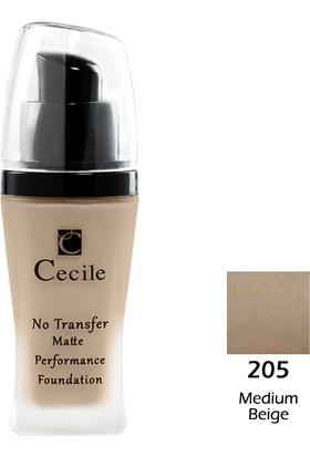 Cecile Mat Fondöten / No Transfer Matte Performance Foundatıon 205