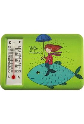 Hunga Termometreli Balık Üstünde Kız Baskılı Magnet