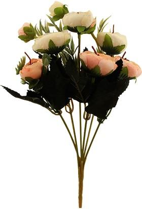 Hunga Fındık Şakaik 9 Top Demet Yapay Çiçek Turuncu - Beyaz