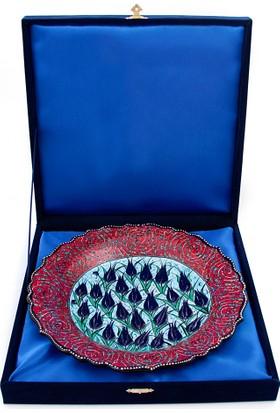 Nazar Boncuğu El Yapımı Lale Desenli Dekoratif Tabak Kadife Kutulu 30cm