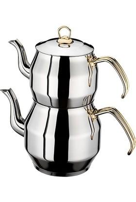 İnter Çelik Köşem Mini Gold Çaydanlık