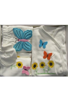 Petite Ponpon Baby Kelebekli Kız 5'li Hastane Çıkışı Zıbın Seti