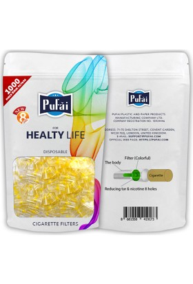 Pufai sigara filtresi ağızlığı normal boy 3000 adet filtre ( 3 yeniden kullanılabilir paket * 1000 normal boy filtre )