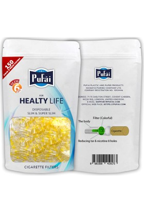 Pufai slim sigara filtresi ağızlığı, 450 adet ( 3 yeniden kullanılabilir paker * 150 adet slim filtre ) slim,slender ve süper slim sigara filtresi