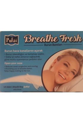 Pufai Breathe Fresh burun bandı, 50 adet ( 5 kutu * 10 band ) ŞEFFAF large boy 66 x 19 mm burun bantı, Pufai