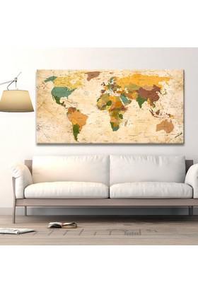 Güncel Dünya Haritası Özel Tasarım Panaromik Kanvas Tablo 50x100 Cm.