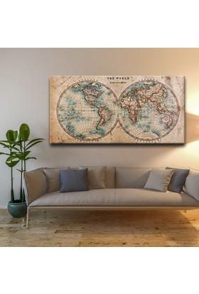 Vintage Dünya Haritası Dekoratif Panaromik Kanvas Tablo 50x100 Cm.