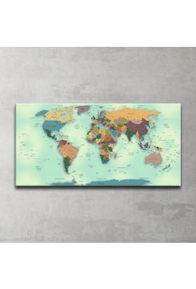 Güncel Siyasi Dünya Haritası Panoramik Kanvas Tablo 50x100 Cm.
