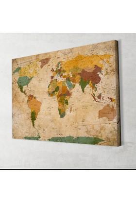 Vintage Güncel Siyasi Dünya Haritası Kanvas Tablo 40x60 Cm.