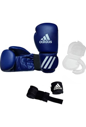 Adidas Speed 50 Kick-Box Ve Boks Eldiveni Mavi + Dişlik + Boks Bandajı Set 10 Oz