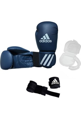 Adidas Speed 50 Kick-Box Ve Boks Eldiveni Gri + Dişlik + Boks Bandajı Set 10 Oz