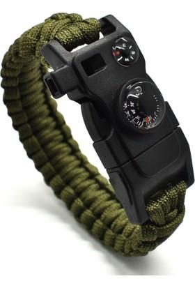 Paracord Survival Bileklik - Ateş başlatıcı - 17 Özellik