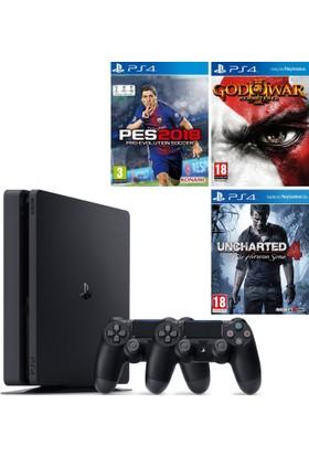Sony Ps4 Slim 500Gb Konsol + 2. Ps4 Kol + Ps4 Pes 18 + Ps4 God Of War + Ps4 Uncharted 4