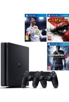 Sony Ps4 Slim 500Gb Konsol + 2. Ps4 Kol + Ps4 Fifa 18 + Ps4 God Of War + Ps4 Uncharted 4