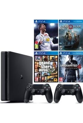 Sony Ps4 Slim 500Gb Konsol + Ps4 Fifa 18 + Ps4 God Of War 4 + Ps4 Gta 5 + Ps4 Uncharted 4