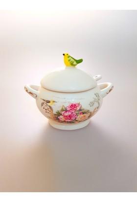 camsa Kuş Figürlü Çiçekli Desenli Şekerlik Tuzluk (4009)