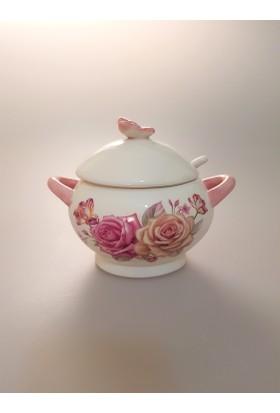 camsa Kelebek Figürlü Çiçekli Desenli Şekerlik Tuzluk (8005)