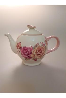 Nerox Kelebek Figürlü Gül Desenli Porselen Çaydanlık (8011)
