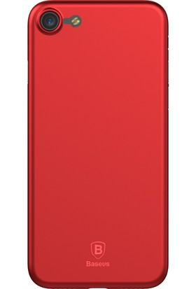 Baseus Apple iPhone 7 Şeffaf Silikon Kılıf Kırmızı + Ekran Koruyucu