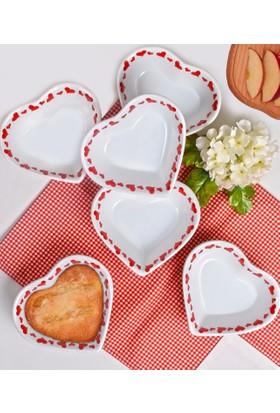 Keramika 6 Parça 15 Cm Kalp Çorba Kasesi Kırmızı Kalp Yağmuru