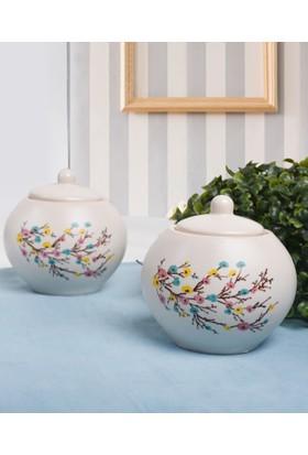 Keramika 2 Parça 10 Cm Şekerlik İlkbahar Tomurcuk