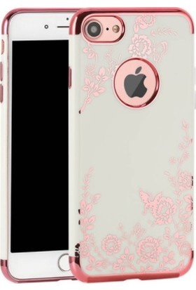 Vendas Apple iPhone 7 Sarı Yaldızlı Desenli Silikon Kılıf + Ekran Koruyucu