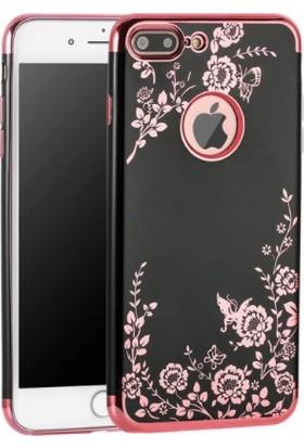 Vendas Apple iPhone 6/6S Plus Sarı Yaldızlı Desenli Silikon Kılıf + Ekran Koruyucu