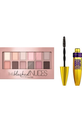 Maybelline New York The Blushed Nudes Far Paleti + Maybelline Colossal Big Shot Maskara Black