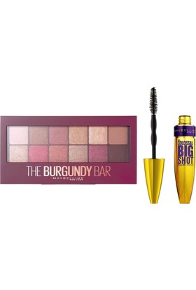Maybelline New York The Burgundy Bar Far Paleti + Maybelline Colossal Big Shot Maskara Black