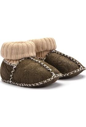 Hakiki Kürklü Çoraplı Bebek Patiği 141006 Haki