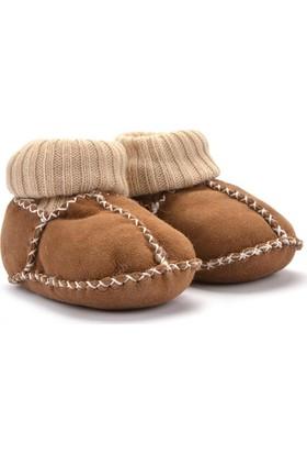 Hakiki Kürklü Çoraplı Bebek Patiği 141006 Kahverengi
