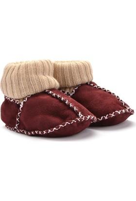 Hakiki Kürklü Çoraplı Bebek Patiği 141006 Bordo