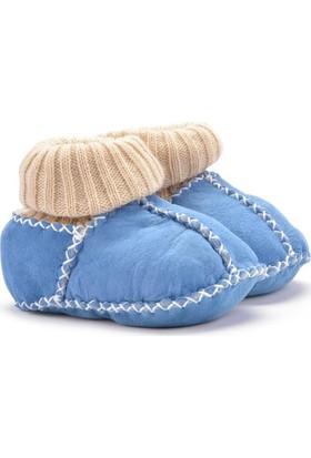 Hakiki Kürklü Çoraplı Bebek Patiği 141006 Mavi