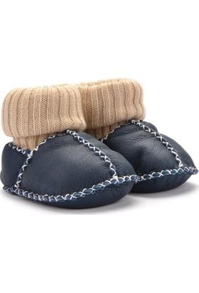 Hakiki Kürklü Çoraplı Bebek Patiği 141006 Lacivert