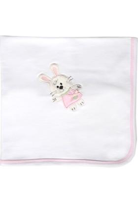 Happy Moon Tavşan Nakışlı Tek Kat Battaniye Beyaz