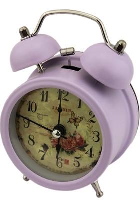 Hunga Metal Alarmlı Işıklı Masa Saati Lila