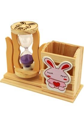Hunga Tavşan Temalı Kum Saati Mor Kumlu