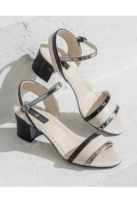 Elle Gampola Kadın Ayakkabı Bej - Siyah - Kurşun