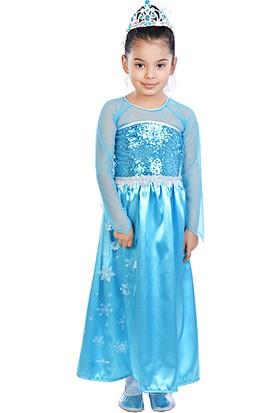 Masho Trend Frozen Elsa Uzun Kollu Pelerinli Saten Düz Model Asa Taç Kostüm
