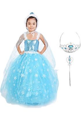 Masho Trend Frozen Elsa Pelerinli Tüylü Sıfır Kol Asa Taç Tarlatanlı Model Kostüm
