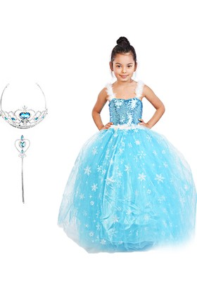 Masho Trend Tüllü Tarlatanlı Elsa Kostümü 3'lü Set