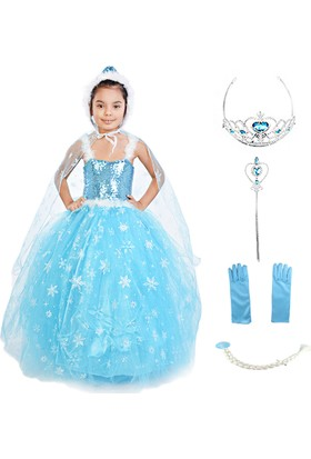 Masho Trend Frozen Elsa Pelerinli Şapkalı Tarlatanlı Kostüm 6'lı Set Askılı Model