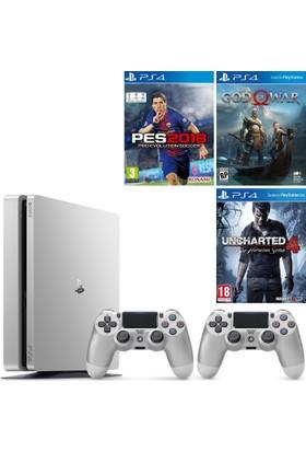 Sony PS4 Slim 500GB Silver ( Gümüş ) + 2. PS4 Kol + PS4 Pes 18 + PS4 God Of War 4 + PS4 Uncharted 4