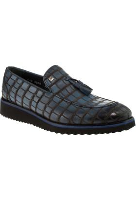 Fosco 8008 Bağsız Klasik Mavi Erkek Ayakkabı