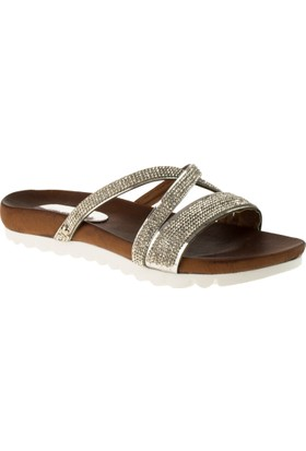 Muya 95414 Çapraz Bant Taşlı Gümüş Kadın Terlik